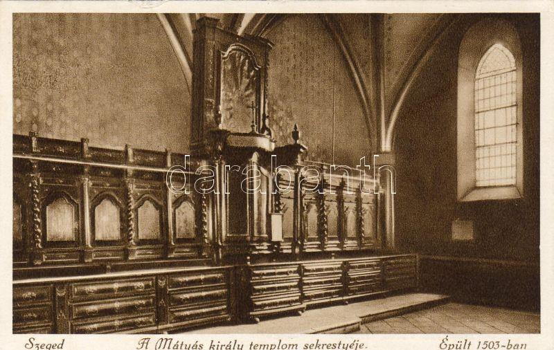 Szeged, Mátyás király templom, sekrestye, belső