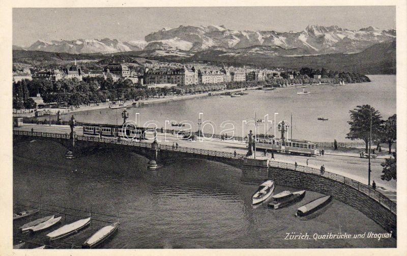Zürich, Quaibrücke, Utoquai / bridge, lake, trams, boats