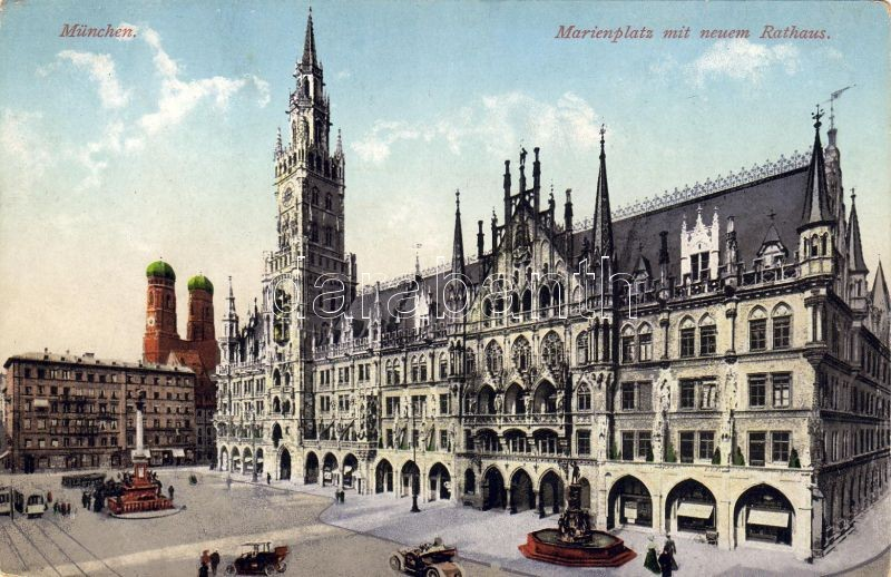 München, Marienplatz, Rathaus / square, town hall, automobiles
