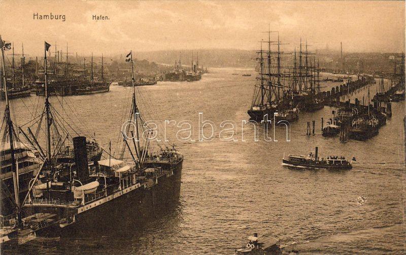 Hamburg, port, steam ships