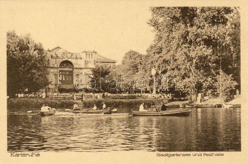 Karlsruhe, Stadtgartensee, Festhalle / lake, boats