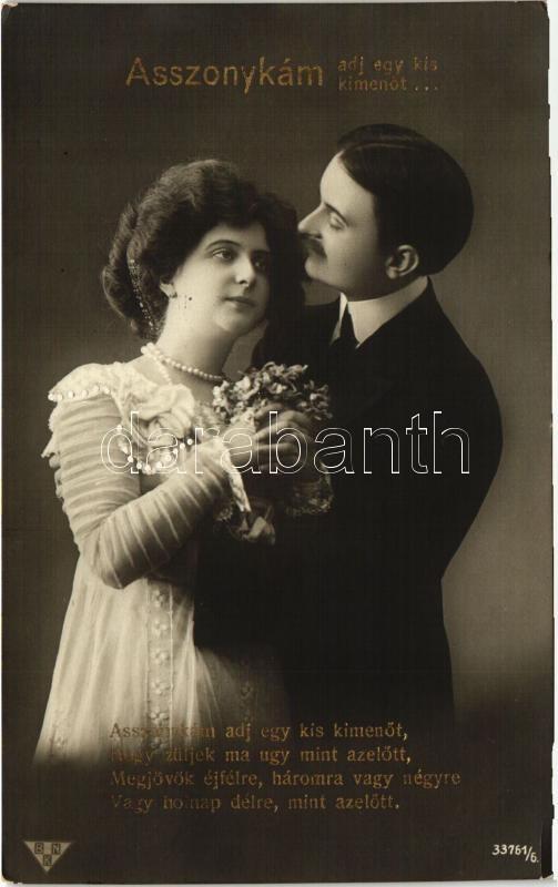 Humorous romantic couple postcard Asszonykám adj egy kis kimenőt... Humoros romantikus pár lap