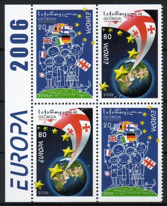 Europa CEPT margin block of 4 from stamp booklet, Europa CEPT ívszéli négyestömb bélyegfüzetből, Europa CEPT Viererblock mit Rand aus Markenheftchen