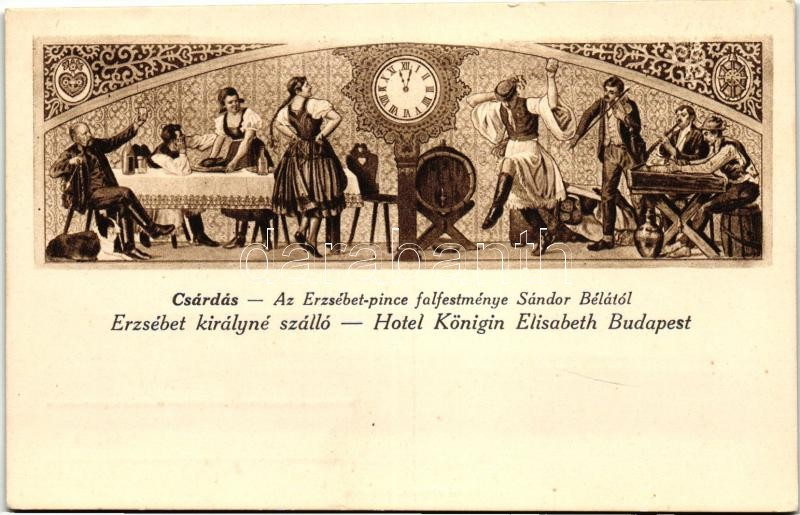 Budapest V. Erzsébet Királyné Szálló, Sándor Béla falfestménye Petőfi János vitézéből