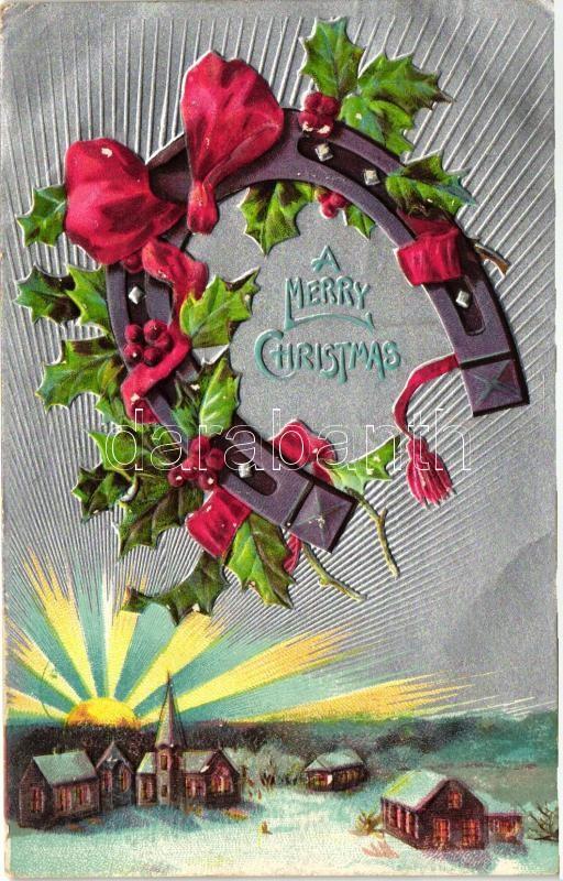Christmas, horseshoe, silver Emb. litho, Karácsony, lópatkó, ezüst Emb. litho