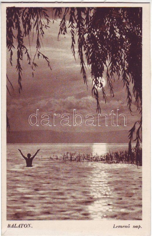 Balaton, fürdőző, naplemente