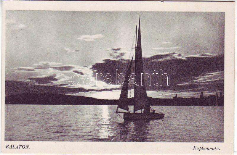Balaton, vitorlás hajó, naplemente