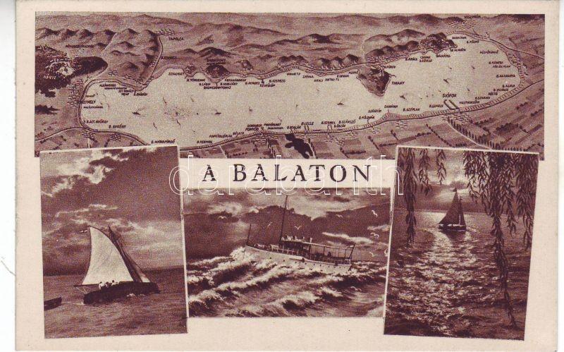 Balaton, térkép, vitorlás hajók, gőzhajó