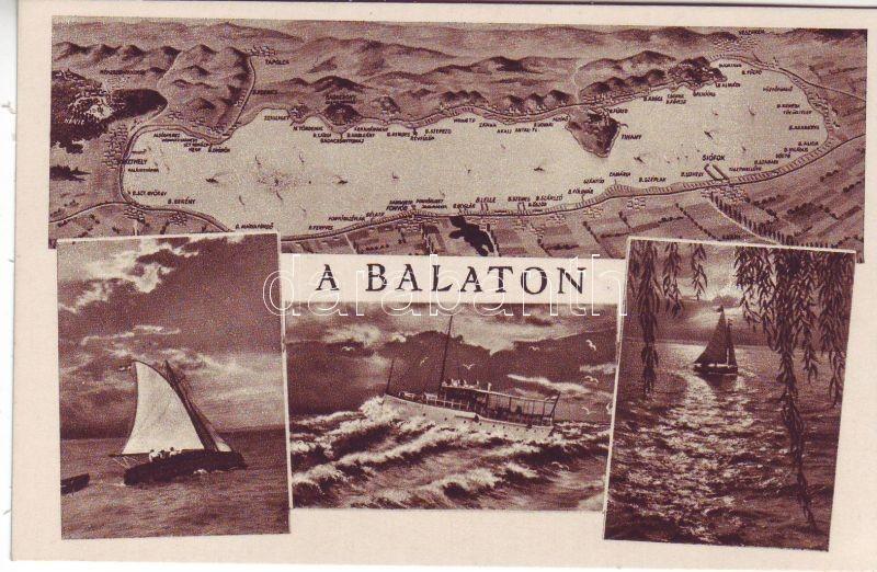 balaton vitorlás térkép Postcards, Hungary, Balaton, térkép, hajó, vitorlás hajók, 18060