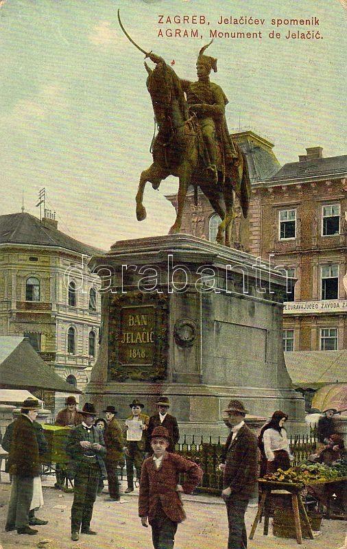 Zagreb, Jelacic szobor, piac, Zagreb, Jelacic monument, market