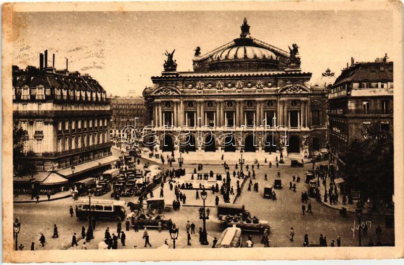 Paris, Opera Square, autobus, automobiles, Párizs, Opera tér, autóbusz, autók