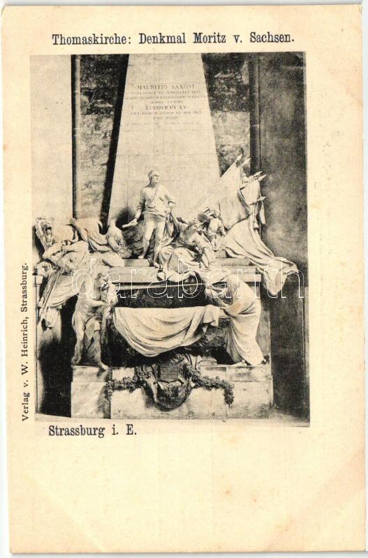 Strasbourg, Strassburg i. E.; Thomaskirche, Denkmal Moritz v. Sachsen / church interior, statue
