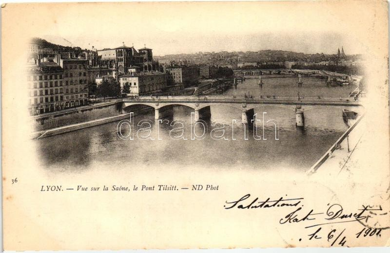 Lyon, Pont Tilsitt, Saone / bridge, river