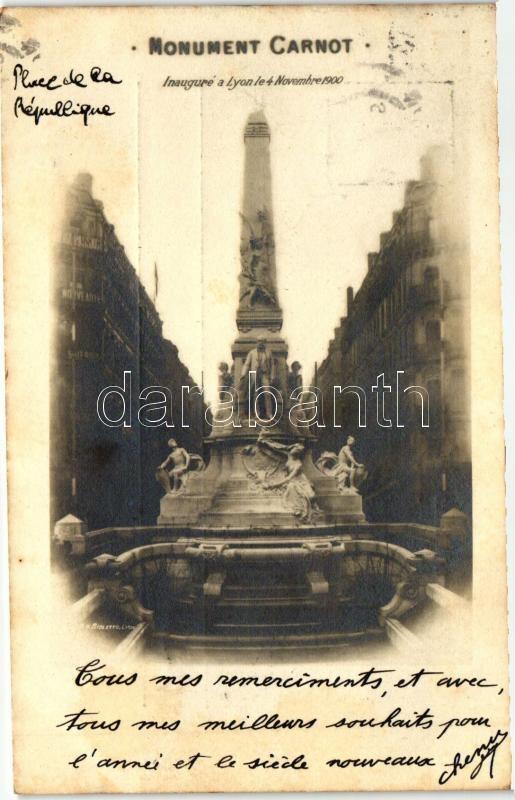 1900 Lyon, Inaugure Monument Carnot