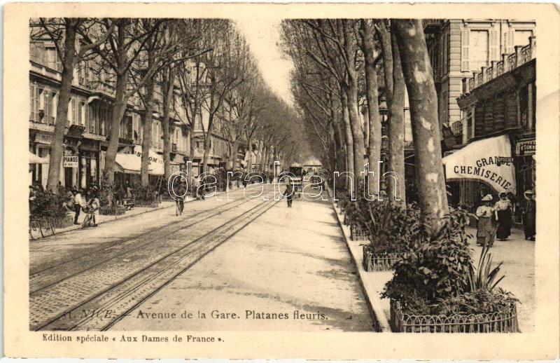 Nice, Avenue de la Gare, Platanes fleuris, Grande Chemiserie / avenue, haberdashery, shops, tram