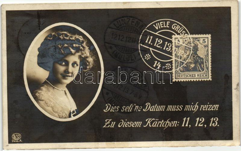 Ritka dátumos üdvözlőlap, bélyeg, 11.12.13., Dies selt'ne Datum muss mich reizen, Zu diesem Kärtchen: 11, 12, 13