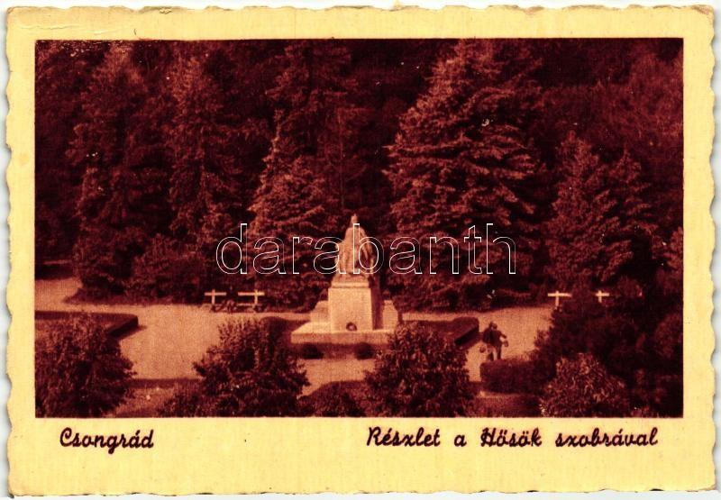 Csongrád, park detail with the Heroes statue, Csongrád, parkrészlet a Hősök szobrával