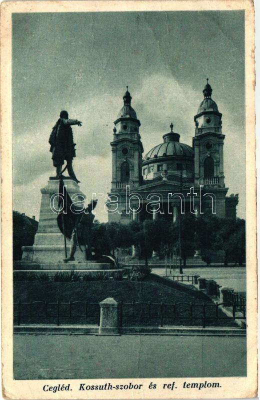 Cegléd, Kossuth szobor, Református templom, Cegléd, Kossuth statue, Protestant church