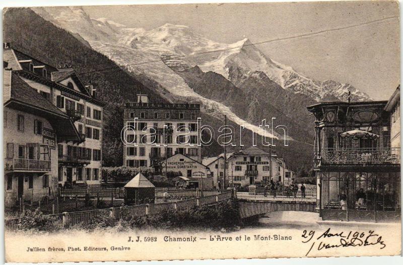 Chamonix, Arve, Mont Blanc, Hotel Poste Annexe, Chocolat Menier / mountains, hotels, chocolate shop, shop of Vacheron Constantin
