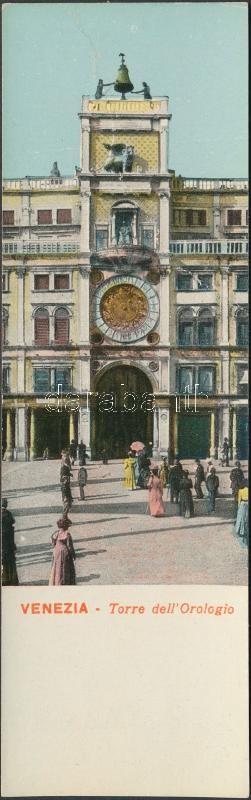 Venice, Venezia; Torre dell'Orologio / clock tower, minicard (13,8 cm x 4,2 cm)
