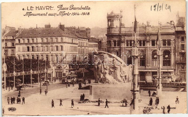 Le Havre, Place Gambetta, Monument aux Morts / square, monument, tram