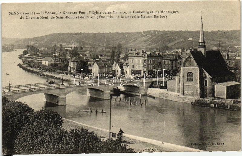 Sens, Yonne, Nouveau Pont, Eglise Saint-Maurice, Paron, Saint Bond, Faubourg / river, bridge, church