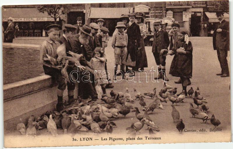 Lyon, Les Pigeons, Place des Terraux  / pigeon feeding, square