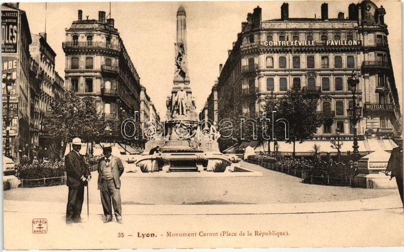 Lyon, Monument Carnot, Place de la Republique, Contrexeville Source du pavillon, Mutual Life / statue, square, shops