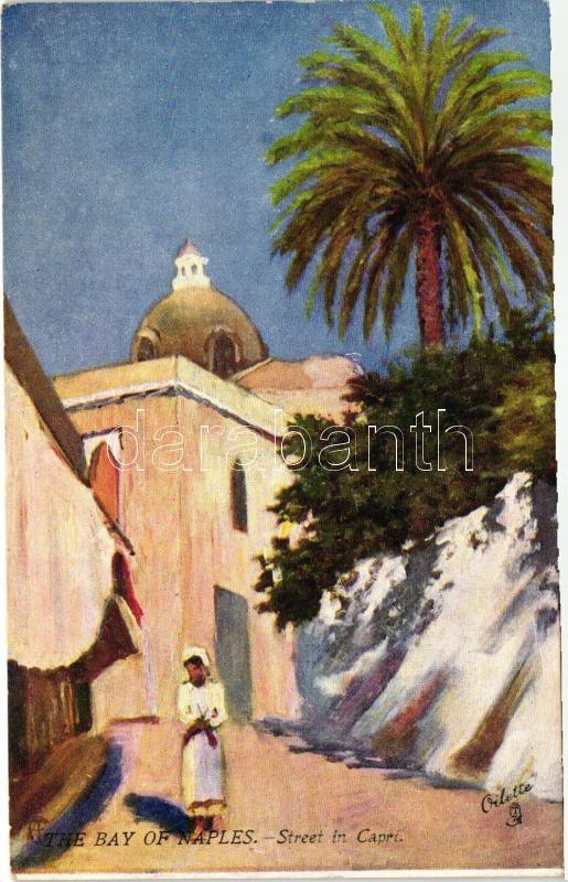 Naples, Napoli; Bay, Street in Capri, Raphael Tuck & Sons Oilette 7373.