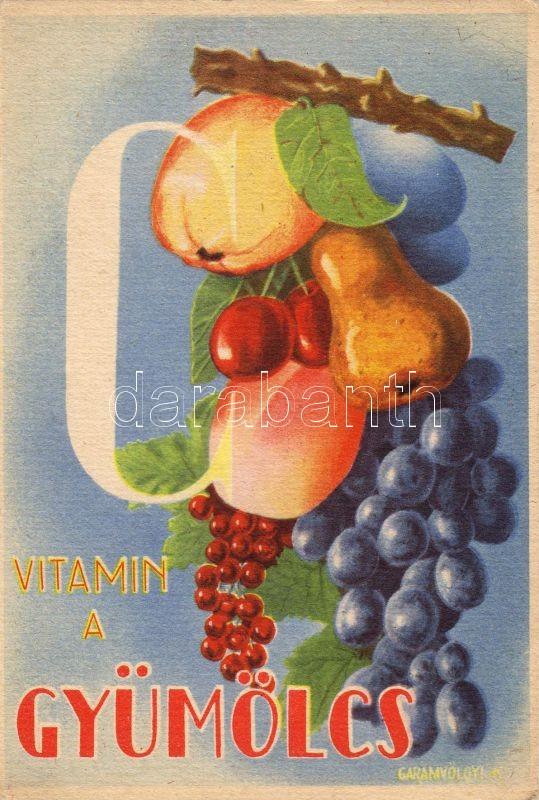 Fruits, Hungarian health propaganda, C-vitamin table on the backside s: Garamvölgyi K., C vitamin a gyümölcsben, propaganda, C-vitamin táblázat a hátoldalon s: Garamvölgyi K.