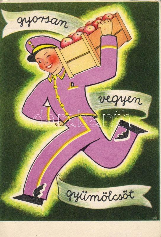 Fruits, Hungarian health propaganda, C-vitamin table on the backside, Gyorsan vegyen gyümölcsöt, propaganda, hátoldalon C-vitamin táblázat