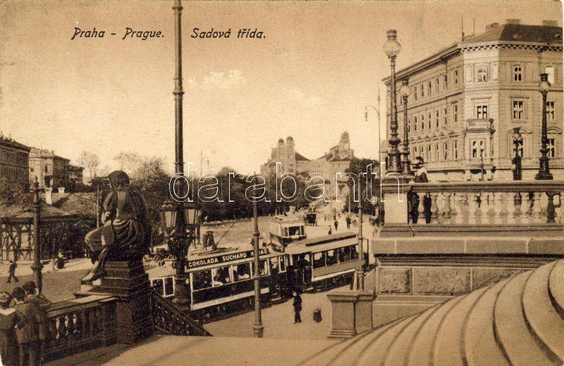 Praha, Prag; Sadova trída / square, trams