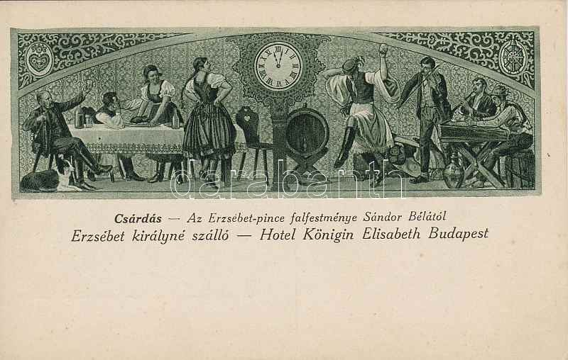 Budapest V. Erzsébet királyné szálló 'Csárdás' falfestmény s: Sándor Béla