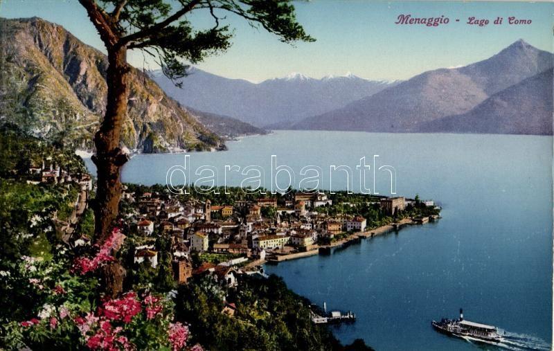Menaggio, Lago di Como  / view of the town, steamship