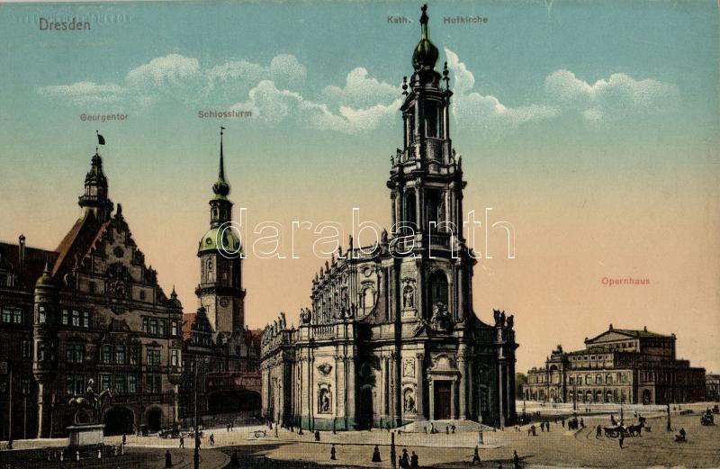 Dresden, Georgentor, Schlossturm, Kath. Hofkirche, Opernhaus / gate, castle tower, church, opera house