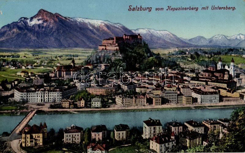 Salzburg vom Kapuzinerberg mit Untersberg / view from the Kapuzinerberg hill with the Untersberg mountains
