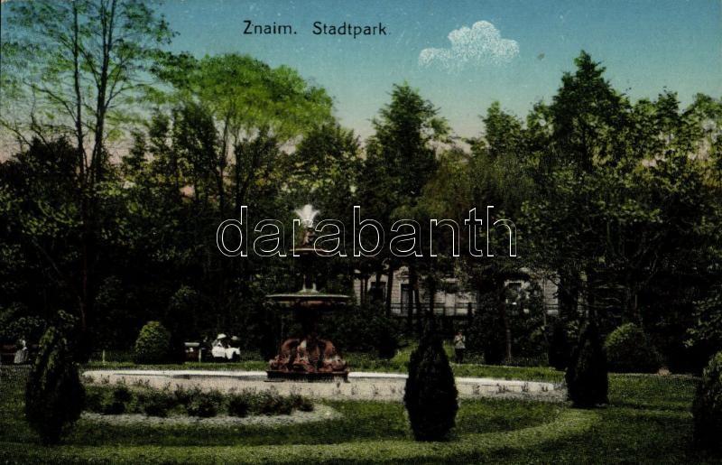 Znojmo, Znaim; Stadtpark / park, fountain