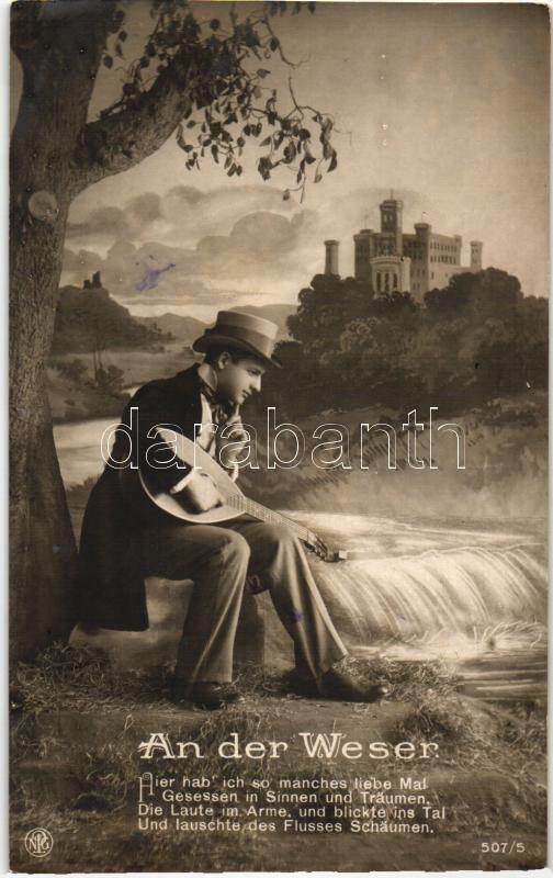 An der Weser / Romantic man with musical instrument Romantikus férfi hangszerrel