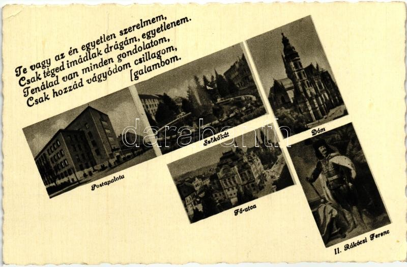 Kosice, post palace, fountain, cathedral, main street, Francis II Rákóczi, Kassa, Postapalota, szökőkút, dóm, Fő utca, II. Rákóczi Ferenc