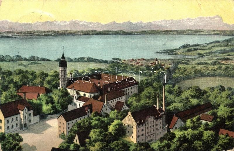 Andechs, Kloster, Ammersee und Gebirge / abbey, lake