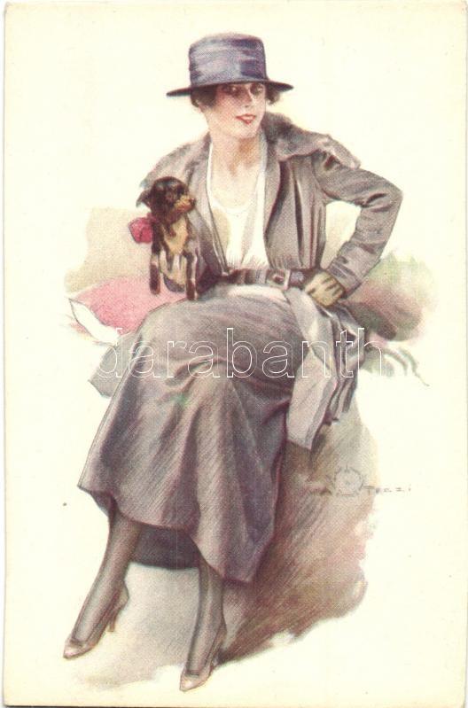 Italian art postcard, lady, Anna & Gasparini 399-2. artist signed, Olasz művészlap, nő, Anna & Gasparini 399-2., szignós