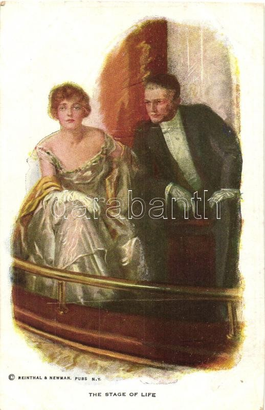 The stage of life, couple in the theatre, Reinthal & Newman No. 814., Pár a színházban, Reinthal & Newman No. 814.