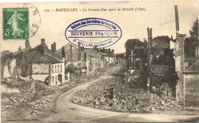 Bazeilles, La Grande Rue apres la Bataille / street after the war, ruins, TCV