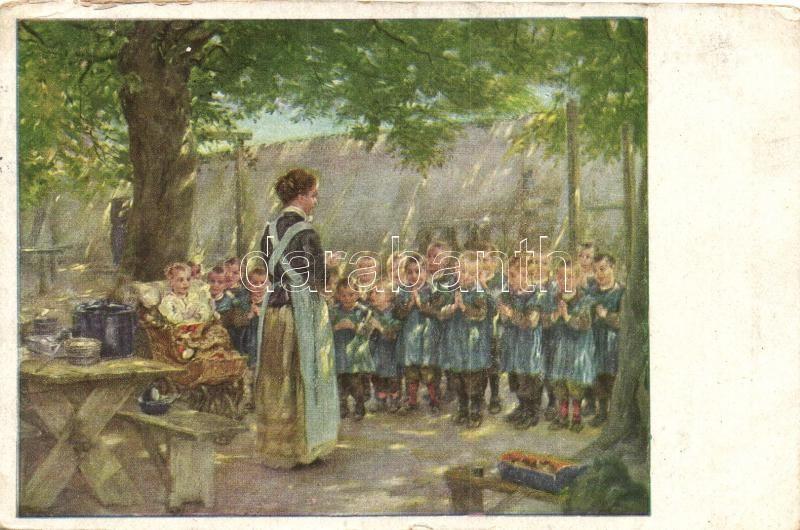 Imádkozó gyerekek, Moderne-Kunstverlag 2449. s: Prof. O. Piltz, Children praying, Moderne-Kunstverlag 2449. s: Prof. O. Piltz