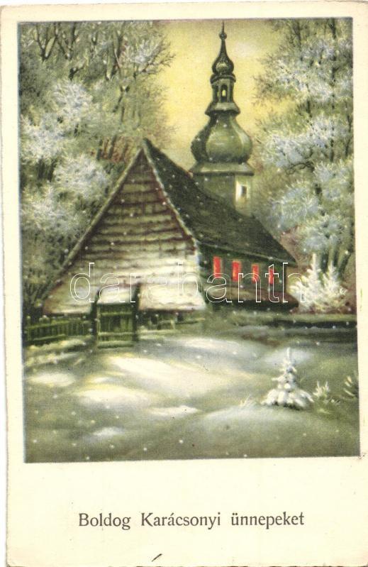 Christmas, church in the snow, Ha.Co. 5892., Karácsony, templom  a hóban, Ha.Co. 5892.