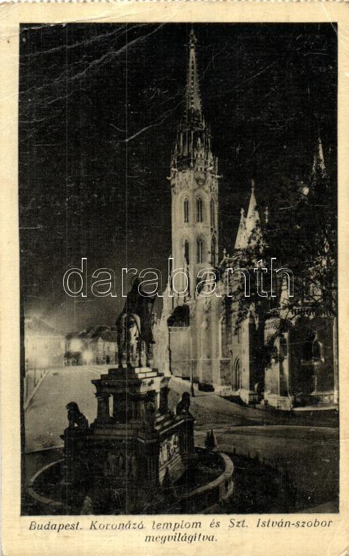 Budapest I. Koronázó templom, Szent István szobor, este