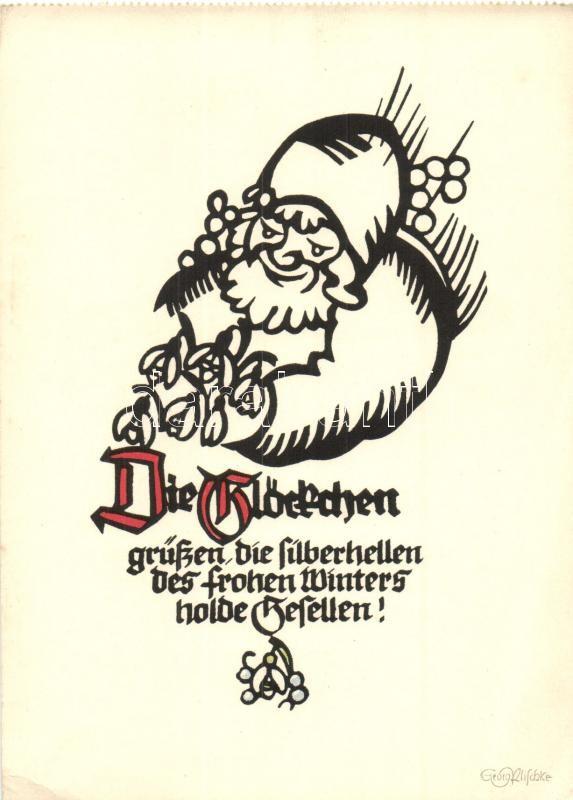 Die Glöckchen / Dwarf greeting card, Pilschke Kunstkarte 933. s: Georg Plischke, Törpés üdvözlő lap, Pilschke Kunstkarte 933. s: Georg Plischke
