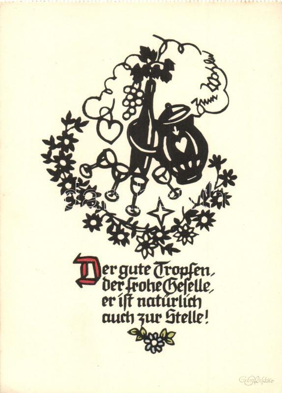 Der Gute Tropfen / Greeting card, Pilschke Kunstkarte s: Georg Plischke, Üdvözlőlap, Pilschke Kunstkarte s: Georg Plischke