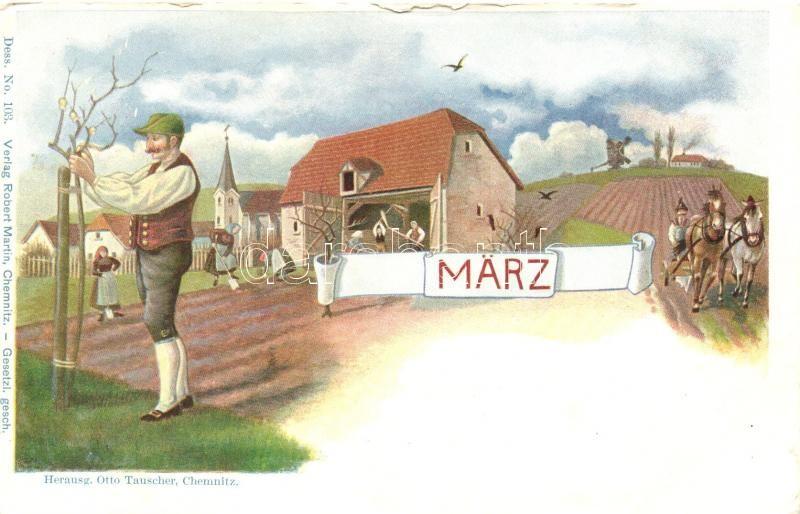 Marz, Dess. No. 103. Verlag Robert Martin, Március, Dess. No. 103. Verlag Robert Martin