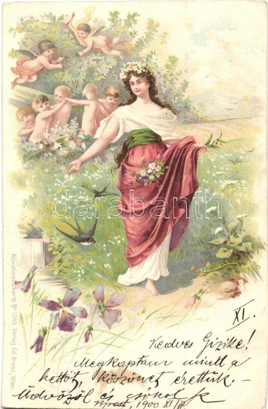 Lady with angels, Künstlerpostkarte No. 1245. Verlag Ed. Arenz, litho, Hölgy angyalokkal, Künstlerpostkarte No. 1245. Verlag Ed. Arenz, litho